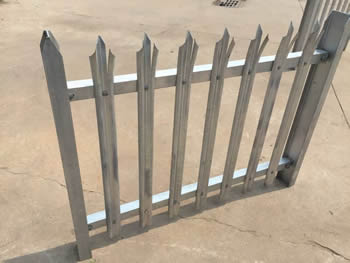 A small sample of palisade fence on the ground.