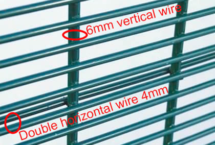 2D security fencing made form 6mm vertical wire and has 4mm double horizontal wires at 152.4mm centres