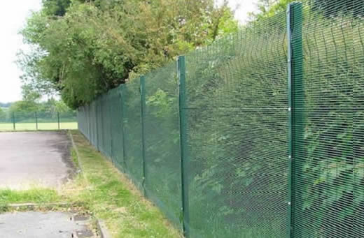 3D mesh panel installed on straight post used for fencing a trees area