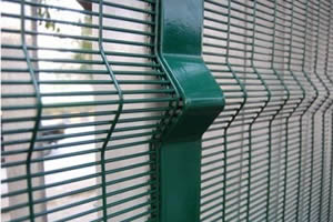 3D security fencing installation - panel with a V beam and post with a V beam