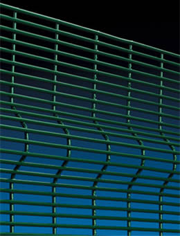 A sheet of 3D security fencing panel with V beams in green powder painting