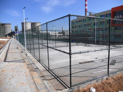 Anti-intruder fence be used to encircle into several cages in front of a building.