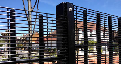 Black 358 mesh panels installed on black post form a strong and security fencing
