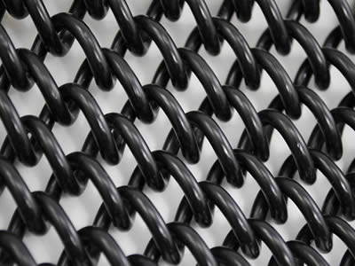 A sheet of black vinyl coated mini mesh  chain link fabric panel with smooth and bright surface. Mini mesh with 6 gauge wire and 1/4