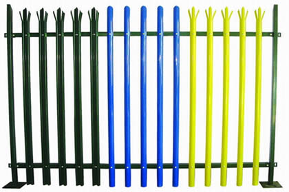 palisade fence made from W section pales in green - yellow color and D section pales in blue color